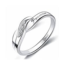 engravable designers cubic zirconia silver promise ring for