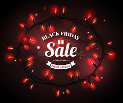 black friday deals on christmas lights black friday sale shining typographical background stock vector