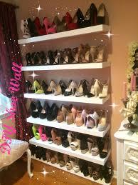 wall of shelves diy shoe wall youtube