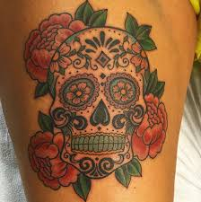 little tattoo studio traditional sugar skull tattoo done