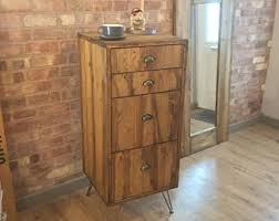 Pine Filing Cabinet Rustic Industrial Style Vintage Retro Office Filing Cabinet