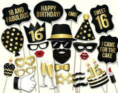 70th birthday party ideas 16th birthday party photo booth props kit