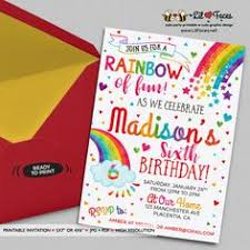 rainbow birthday invitation personalized for by nitelitedesign
