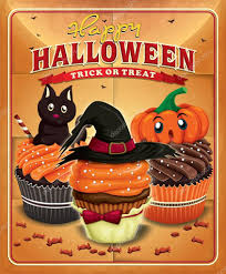vintage halloween poster design with cupcakes u2014 stock vector