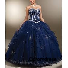 dark blue vintage sweetheart applique organza a line ball gown