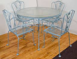 Vintage Woodard Patio Furniture - vintage salterini wrought iron table and chairs in powder blue at