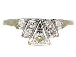 art deco platinum u0026 diamond fan shaped ring the antique