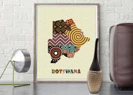 Botswana Map Botswana Map Art Print Wall Decor Botswana Poster African Art