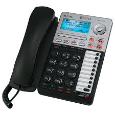 at u0026t 2 line corded phone with caller id and digital answering