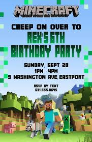 minecraft birthday invitations invitation minecraft theme