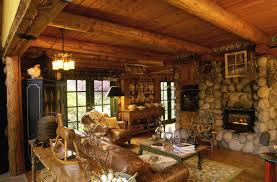 furniture log cabin decorating ideas with sofa and fireplace also