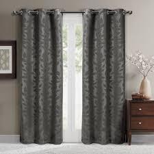 Blackout Curtains Gray Virginia Leafy Design Blackout Weave Grommet Curtain Panels