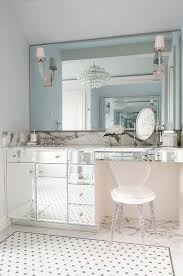 mirrored makeup vanity with lucite vanity chair contemporary