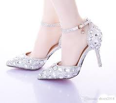 Comfortable Stylish Heels Pointed Toe Silver Pumps Ab Color Bridal Shoes Rhinestone High