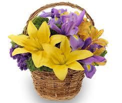 Yellow Lilies Fresh Cut Purple Yellow Lilies Galore Basket Memory Lane Memorials