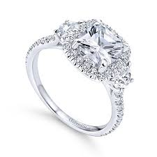 3 halo engagement rings platinum cushion cut 3 stones halo engagement ring er9189pt4jj