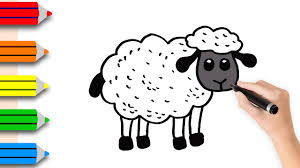 coloring pages sheep drawing u0026 colouring for kids w colored