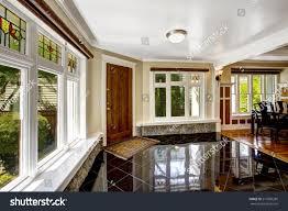 luxury interior foyer black shiny tile stock photo 215560285