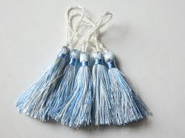 five two tone tassels in blue and ivory 5 small tassels for