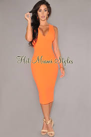 orange dress orange textured cut out midi dress
