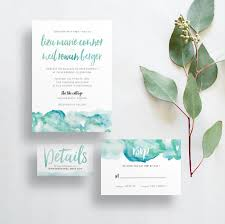 custom invites watercolor ombre wedding invites blue green aqua watercolor