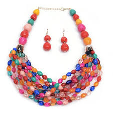 color beads necklace images Wholesale big bright multi color beaded chunky statement earrings jpg