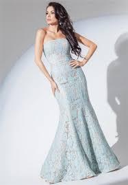 Light Blue Mermaid Dress And Flare Mermaid Strapless Light Blue Lace Evening Prom Dress
