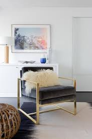 Gold Accent Chair Dark Gray Velvet Chair On Brass Base Contemporary Bedroom