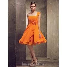 short knee length chiffon bridesmaid dress orange plus sizes