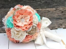 Shabby Chic Wedding Bouquets by Romantic Rustic Peach Mint Ivory And Burlap Bridal Wedding