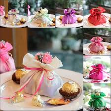 italian wedding favors italian style wedding favor candy gift bags yarn pouch with flower
