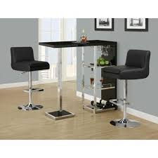 Home Bar Table Monarch Specialties Glossy Black Chrome Metal 48 Inch L Bar