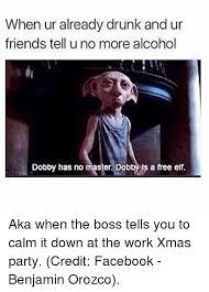 Drunk At Work Meme - when ur already drunk and ur friends tell u no more alcohol dobby
