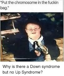 Syndrome Of A Down Meme - put the chromosome in the fuckin bag down syndrome meme on