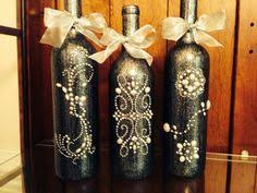 silver wine bottles set 3 decorated wine bottle centerpiece black lace white
