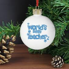 blue world u0027s best teacher christmas bauble at toxicfox co uk