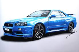 nissan silvia drawing nissan skyline gtr r34 speed drawing by roman miah art