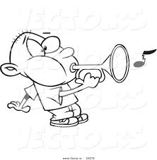 vector of a cartoon boy playing a bugle outlined coloring page