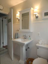 Sherwin Williams Sea Salt Bathroom Beach Cottage Bathroom Wainscoting Pedestal Sink Wall Sconce