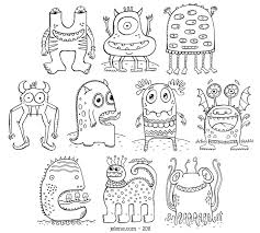 pdf printable crazy monsters coloring book etsy color book