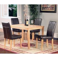 oakden 5 pcs oak dining table and 4 x black faux leather high back