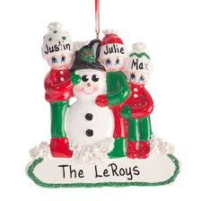 personalized colorful snowmen ornament kimball