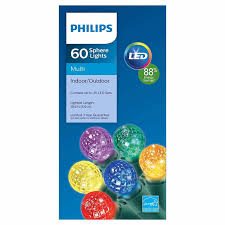 philips 60ct multicolored led faceted sphere string