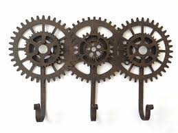 Steampunk Decorations Cog And Gears Triple Hooks Industrial Vintage Steampunk Style