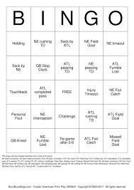 2017 superbowl ne vs atl bingo cards to download print and customize