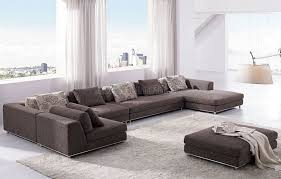 Sectional Sofa With Ottoman Brown Fabric Modern Sectional Sofa With Ottoman Comqt Int 1100