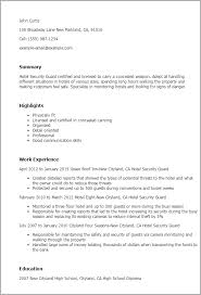 Hotel Resume Examples Professional Hotel Security Guard Templates To Showcase Your