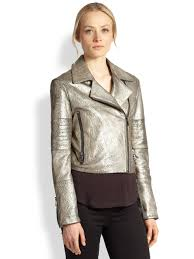 female motorcycle jackets j brand aiah metallic leather motorcycle jacket in metallic lyst