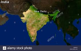 Satellite View Maps Highlighted Satellite Image Of India With New Delhi Highlighted
