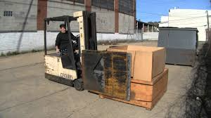 small electric forklift with carton clamp attachment used
